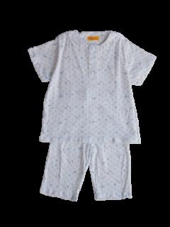 ベビー 半袖 かぶりパジャマ<br>「小さなゾウ ブルー」 80-100