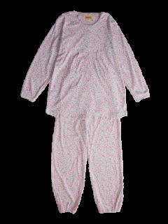 婦人 長袖 胸切り替えパジャマ<br>「リトルフラワー」