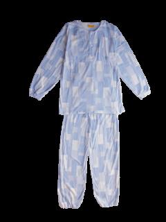 ジュニア 長袖 かぶりパジャマ<br>「コラージュ ブルー」 150