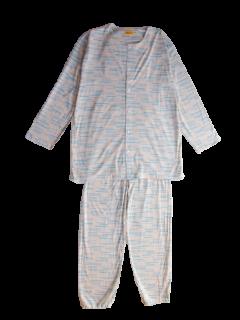紳士 長袖 前開きパジャマ<br>「さざ波ベージュ」