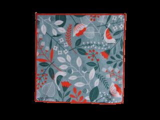 オーガニックコットン ミニタオル<br>「鳥と木の実」