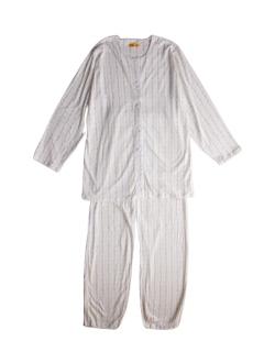 婦人 長袖 前開きパジャマ<br>「ラインフラワーイエロー」