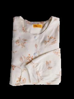 婦人 長袖 胸切り替えパジャマ<br>「オータムフラワー」
