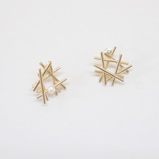 bird's nest & pearl posts pierce【Laboratorium】