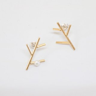 branch & pearl posts pierce【Laboratorium】