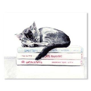 Sleepy Kitten Cat On Books Library Cute Kity Gray Striped
