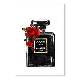 <img class='new_mark_img1' src='https://img.shop-pro.jp/img/new/icons16.gif' style='border:none;display:inline;margin:0px;padding:0px;width:auto;' />Chanel Noir Perfume Print With Red Roses