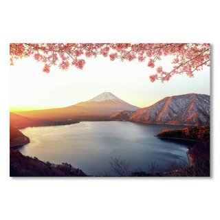 Sunrise Over Fuji San Mountain And Pink Sakura