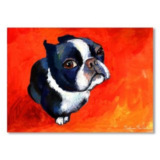 Boston Terrier dog painting prints