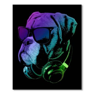 DJ Boxer Dog In Neon Lights