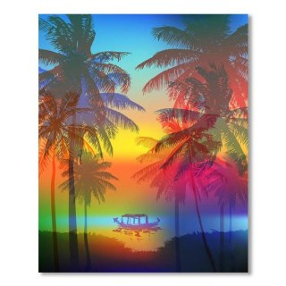Tropical Sunset On Palm Beach And