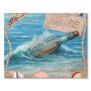 Message In Bottle-beach Postcard1