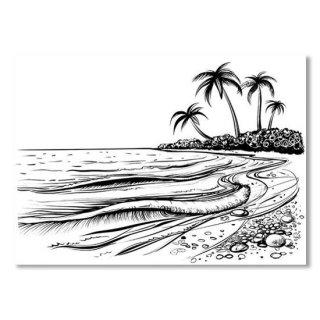 Ocean Or Sea Beach With Waves Sketch