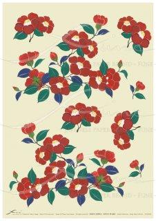 アートペーパー「FUNE」JSAD0001 陶絵 椿(葉緑)