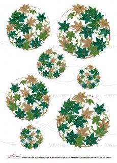 ライスペーパー「FUNE」JSAR1018 陶絵 丸紋紅葉(緑)