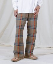 Iroquois_CHAMBRAY CHECK FLARE SL【セットアップ対応】_BEG