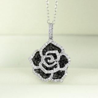 ダイヤモンド ネックレス ブラック ダイヤモンド 0.5ct K18 ホワイトゴールド バラ ばら 薔薇 モチーフ 鑑別書付 保証書付