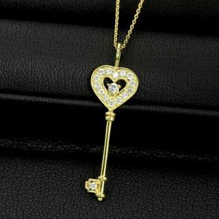 ダイヤモンド ネックレス 鍵 キー モチーフ 0.1ct K18 イエローゴールド ラッキー アイテム モチーフ 鑑別書付 保証書付 普段使い お守り