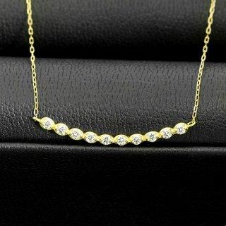 ダイヤモンド ネックレス ラインネックレス 0.2ct K18 イエローゴールド 鑑別書付 保証書付 普