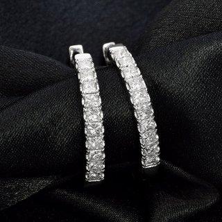 ダイヤモンド ピアス フープピアス K18 ホワイトゴールド 1.0ct 1カラット 0.5×0.5ct 中折れ プリンセスカット 鑑別書付 保証書付 インポート