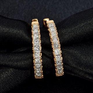 ダイヤモンド ピアス フープピアス K18 ピンクゴールド 1.0ct 1カラット 0.5×0.5ct 中折れ プリンセスカット 鑑別書付 保証書付 インポート