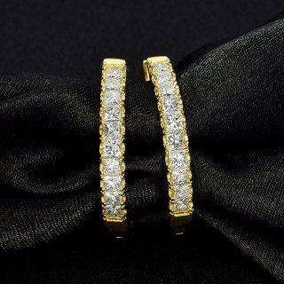 ダイヤモンド ピアス フープピアス K18 イエローゴールド 1.0ct 1カラット 0.5×0.5ct 中折れ プリンセスカット 鑑別書付 保証書付 インポート