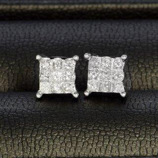 ダイヤモンド ピアス K18 ホワイトゴールド 0.5ct プリンセスカット ミステリーセッティング スクエア 鑑別書付 保証書付 インポート