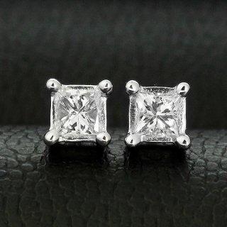 ダイヤモンド ピアス 一粒 0.2ct K18 ホワイトゴールド プリンセスカット 0.1×0.1ct 鑑別書付 保証書付 インポート