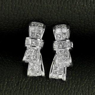 ダイヤモンド ピアス りぼん K18 ホワイトゴールド 0.5ct プリンセスカット 0.25×0.25ct リボン リボンモチーフ たて よこ 2way 鑑別書付 保証書付 インポート