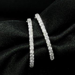 ダイヤモンド ピアス フープピアス K18 ホワイトゴールド 0.5ct 外側 内側 ダイヤモンド 鑑別書付 保証書付 インポート