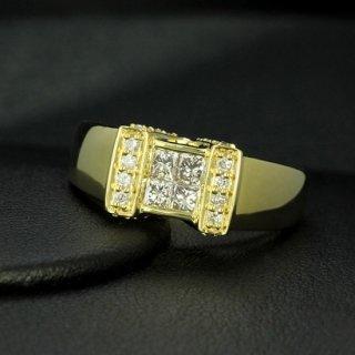 ダイヤモンド リング K18 イエローゴールド 0.6ct 鑑別書付 保証書付 インポート 地金たっぷり 幅広 量感リッチ