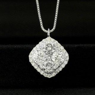 ダイヤモンド ネックレス 0.7ct K18 ホワイトゴールド スクエア ひし形 取り巻き 鑑別書付 保証書付 インポート