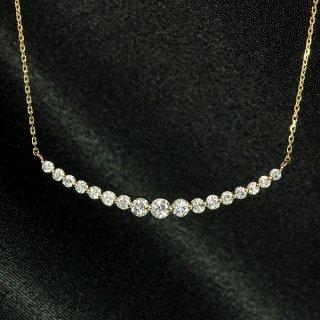 ダイヤモンド ネックレス ラインネックレス 0.5ct K18 ピンクゴールド グラデーション 鑑別書付 保証書付 インポート