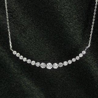 ダイヤモンド ネックレス ラインネックレス 0.5ct K18 ホワイトゴールド グラデーション 鑑別書付 保証書付 インポート
