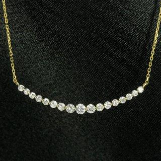 ダイヤモンド ネックレス ラインネックレス 0.5ct K18 イエローゴールド グラデーション 鑑別書付 保証書付 インポート