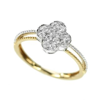 ダイヤモンド リング フラワー K18 ピンクゴールド ホワイトゴールド 0.2ct 花 モチーフ 鑑別書付 保証書付