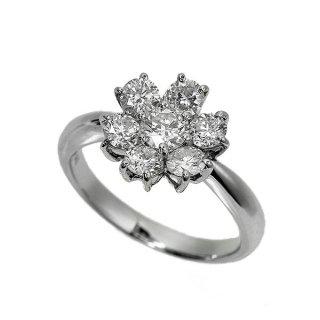 ダイヤモンド リング K18 ホワイトゴールド 1.2ct 花 フラワー モチーフ 鑑別書付 保証書付 インポート
