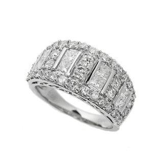 2カラット ダイヤモンド リング K18ホワイトゴールド プリンセスカット 鑑別書付 保証書付 インポート 幅広 ボリューム