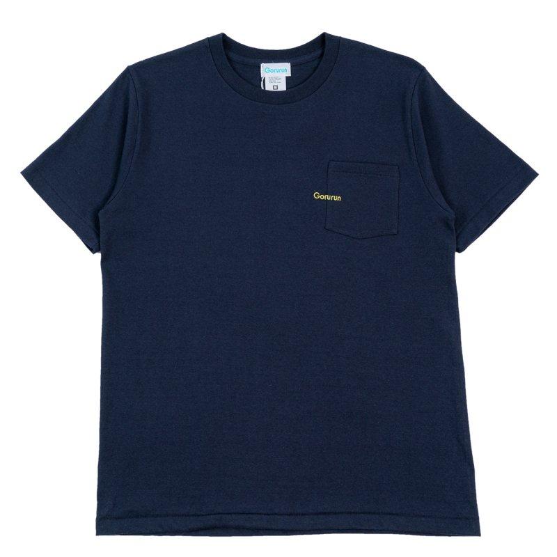 ミニロゴ刺繍 ポケット Tシャツ / ネイビー