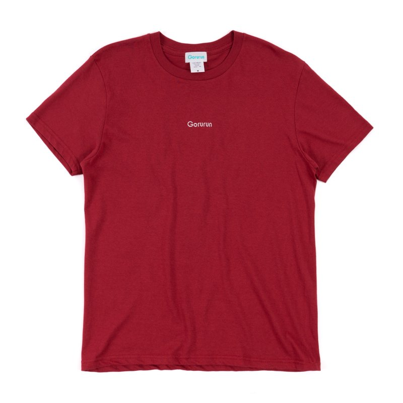 ロゴ刺繍 スタンダート Tシャツ  / バーガンディ