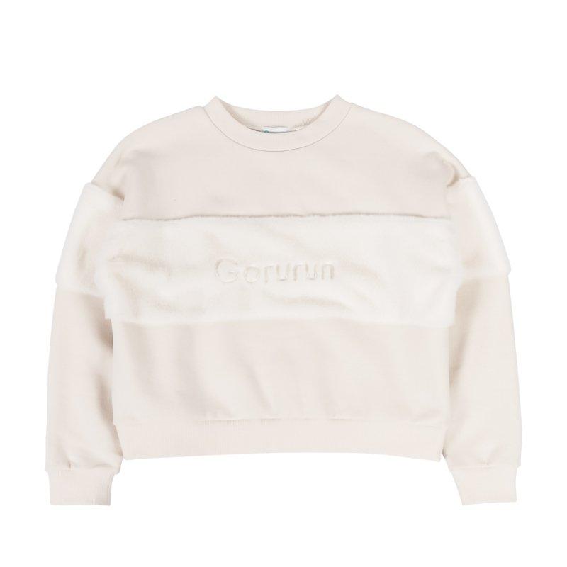 【レディース】ロゴ刺繍エコファーチェストプルオーバー ホワイト