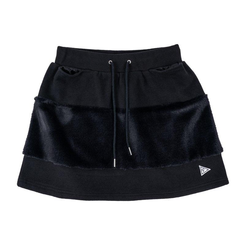 【レディース】 エコファー切り替えスカート ブラック