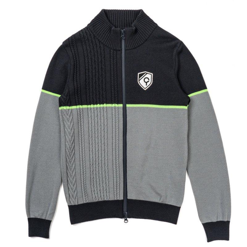 スタンドカラージップアップセーター / ブラック