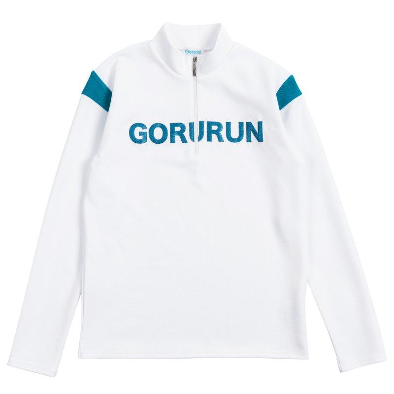Gorurun グリッターロゴ ハーフzip / ホワイト