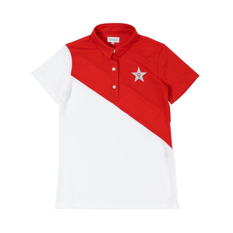 【レディース】Gorurun NANAME Cut ポロシャツ / レッド