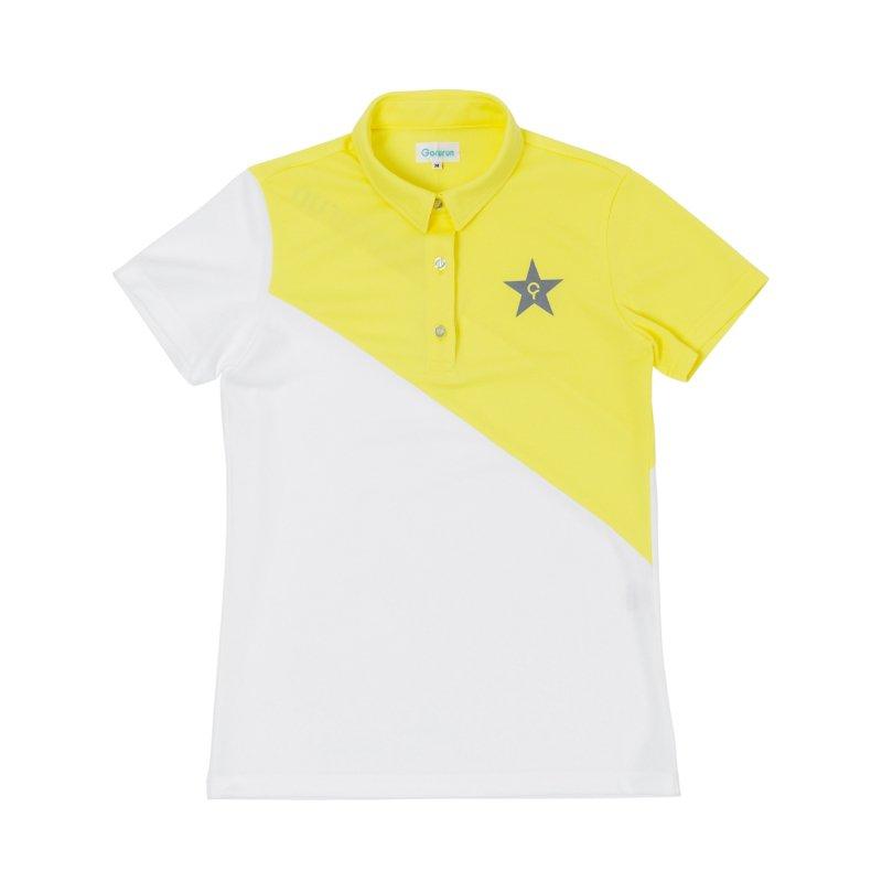 【レディース】Gorurun NANAME Cut ポロシャツ / イエロー