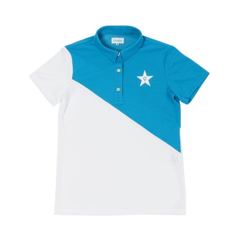 【レディース】Gorurun NANAME Cut ポロシャツ / ブルー