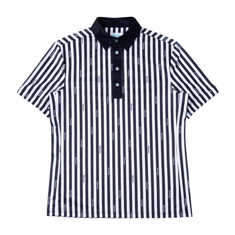 Gorurun クールストライプ モノトーン ポロシャツ / ブラック