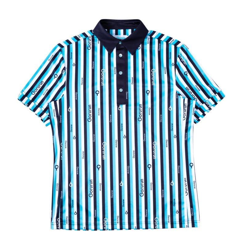 Gorurun クールストライプ カラー ポロシャツ / ごるらんブルー