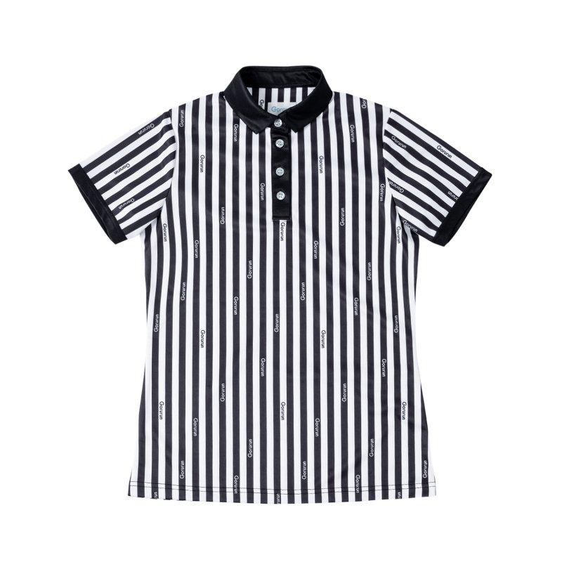 【レディース】Gorurun クールストライプ モノトーン ポロシャツ / ブラック
